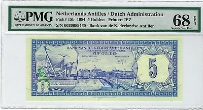 Netherlands Antilles, 1984 5 Gulden P-15b PMG 68 EPQ  ((None finer))