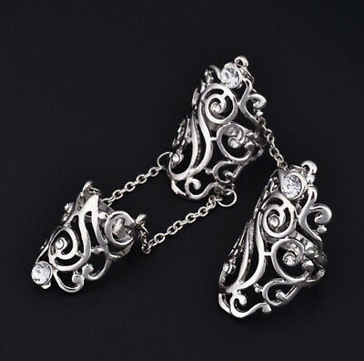Fashion Rhinestone Full Finger Joint Knuckle Armor Hollow Out Finger Ring