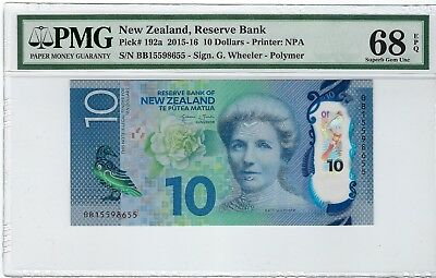 New Zealand, 2015-16 10 Dollars P192a PMG 68 EPQ