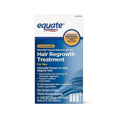 Equate Extra Strength Minoxidil Hair Regrowth Treatment for Men 3 mo 2 oz 3 ct