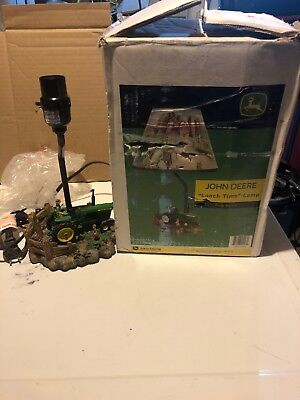 "John Deere ""Lunch Time"" Lamp Poly Resin 14"" Uses 40W Bulb Nice!! In Box!!!!!!!!"