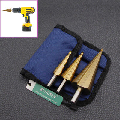 3Pc Large Hss Step Cone Drill Titanium Bit Set Hole Cutter + Storage Pouch New