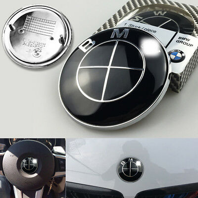 3Pcs For BMW Logo Full Black Front Rear Hood Trunk Emblem Badge Free shipping