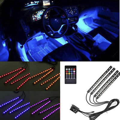 Remote Control 7 Color RGB LED Neon Strip Lights Music For Car Interior Wireless