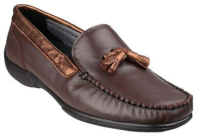 Cotswold Ladies Slip on Moccasin loafer leather shoe Style Biddlestone C  Brown