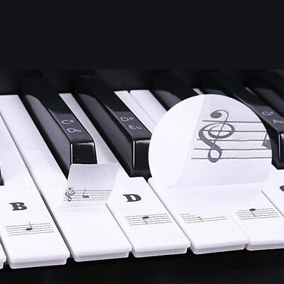 Music Keyboard or Piano Stickers 61 KEY SET, learn faster, LAMINATED clear vinyl