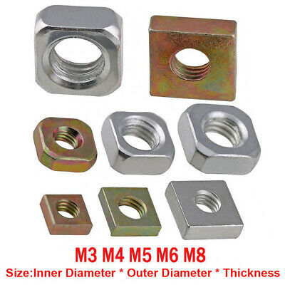 M3 M4 M5 M6 M8 Carbon Steel Square Machine Screw Nut Zinc-Plated Metric New Nuts