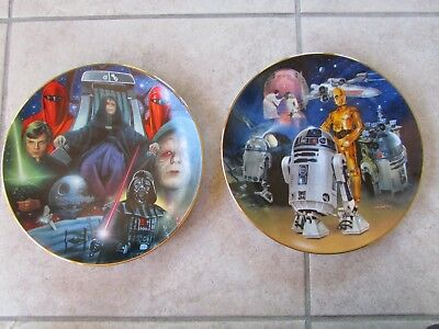Hamilton Collection Star Wars Collector Plates Emperor Palpatins & R2-D2 Lot of2