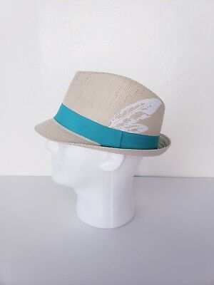 73f6e8b7b0f16 New Daniel Cremieux Men s Straw Fedora Hat Natural With Teal Band Medium  L  Size