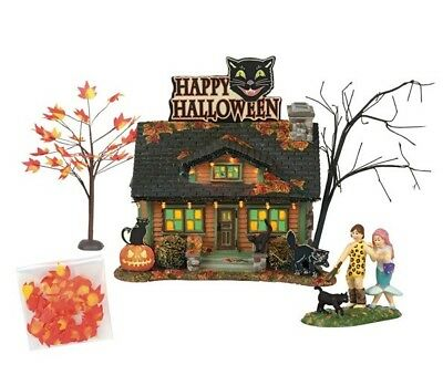 Dept 56 SV Halloween Black Cat Flat Boxed Set of 4 BRAND NEW 2018 Free Shipping