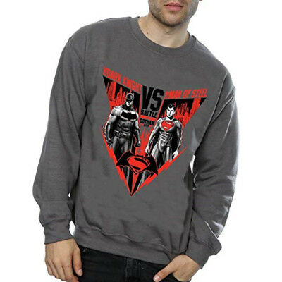 DC Comics Men's Batman v Superman Battle Sweatshirt Light Graphite Official