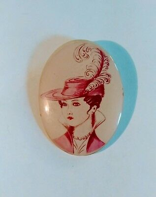 Vintage Woman's PORTRAIT VICTORIAN PIN HATS FEATHERS ACCESSORIES CAMEO PINS CHIC