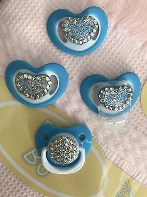 BLINGY Pink 💕and Blue 💙DUMMY PACIFIER SOOTHER + MAGNET FOR REBORN BABY DOLL