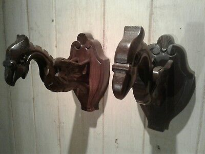 Pair of French antique gothic carved wood Griffin wall light sconces