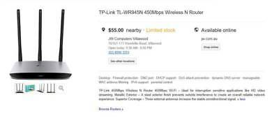TP-Link TL-WR945N 450Mbps Wireless N Router - Brand new
