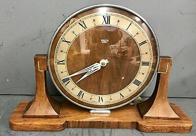 Great Vintage Smiths Sectric Art Deco Wood Mantel Clock.