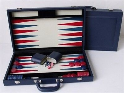 Dal Rossi Luxury 15″ 38 cm Blue PU Leather Backgammon Set NEW!
