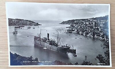 Vintage And Rare Postcard Of Fowey From Hall Walk, Cornwall .