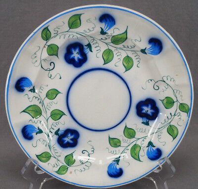 "Mid 19th Century Gaudy Welsh Flow Blue Hand Painted Morning Glory 8 1/2 "" Plate"