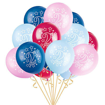 2 Years Old Baby Party Blue Balloons 2nd Birthday Pink Confetti Filled