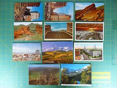 Lot of 11 Colorado Post Cards Denver, Red Rocks, Pikes Peak Old & New