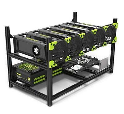 6GPU Mining Case Rig Aluminum Stackable Preassembled Open AirFrame Easy Mounting