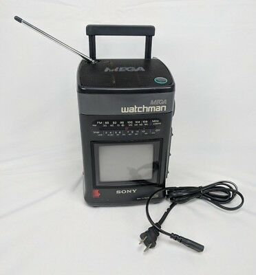 Sony MEGA Watchman FD-510 Portable B&W TV FM/AM Radio Vintage - Tested