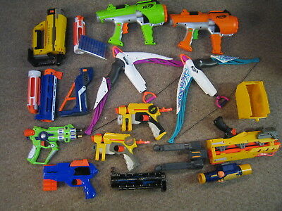Nerf Lot of 9 blasters and many accessories  darts included!  Includes dart tag