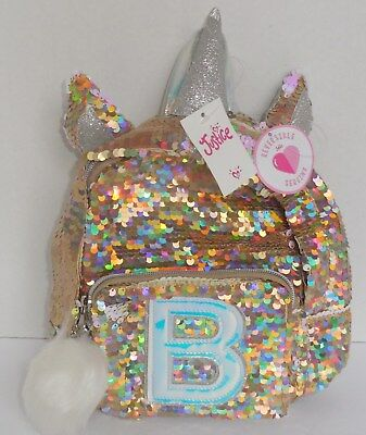 Justice Girls Initial B Mini Backpack Unicorn Reversible Flip Sequins Gold New
