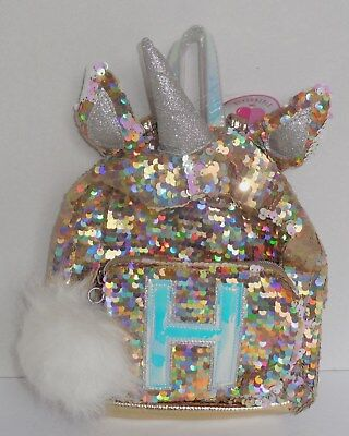 Justice Girls Initial H Mini Backpack Unicorn Reversible Flip Sequins Gold New