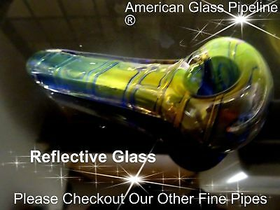 "Gorgeous Reflections Double Thick Glass Tobacco Smoking Pipe.5"" Hand Made Pride"