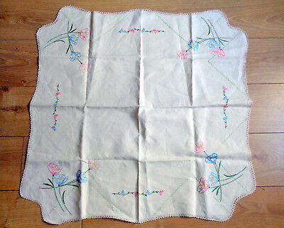 Vintage Tablecloth Transfer Printed Flowers to Complete Embroidery Crochet Edge