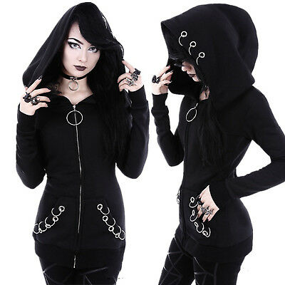 New Women Winter Punk Gothic Jacket Tops Ladies Hooded Sweatshirt Outwear Black