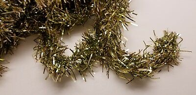 christmas garland vintage 25 feet 1960s green and gold tinsel decor tree