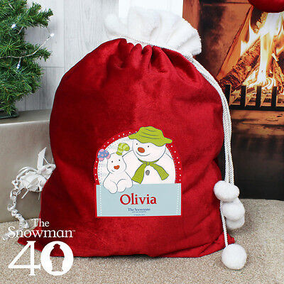 Personalised The Snowman Luxury Pom Pom Sack for Christmas Xmas Presents Gifts