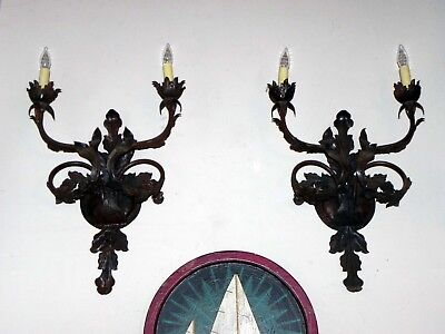 Pair of Vintage Old World Styled Iron Light Sconces