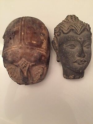 Two Ancient Egyptian Antique Scarab & Sculpture Pieces 1456-1236 Bc