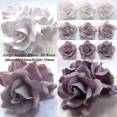 Antique Dusky Mauve Sugar Roses 3D wedding flowers cake decorations 55mmNONWIRED