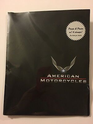 USPS 4 American MOTORCYCLE prints w Stamps, sealed collectible, poster