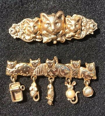 Signed AJC Vintage CAT LOVER BROOCH PIN Tuna Mouse Yarn Ball Bird Charms Jewelry