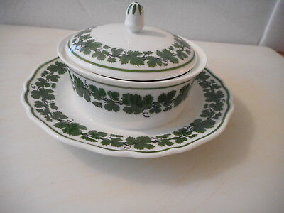Meissen Green  Ivy / Wine  Leaf  Covered Butter Dish