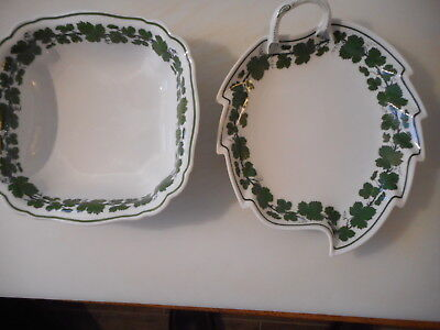 Meissen Green  Ivy / Wine  Leaf 2  Dishes 1 Square I Leaf Shaped With Handle  28
