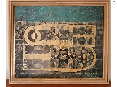 "Retro Vintage Eames Era Print Framed Signed ""French"" 1960 Abstract Mid Century"