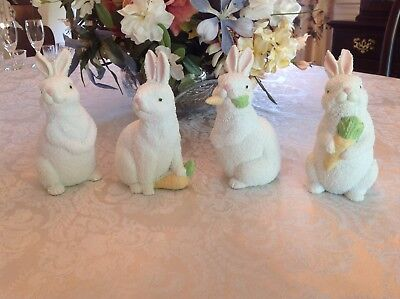 "Set of 4 Ceramic Easter Bunny Rabbit Figurines White Pastel 6"" Tall - Never Used"