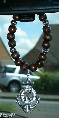 In Car Hanging Anchor Charm Pendant /& Wooden Beads Navy Sailor Nautical Boat