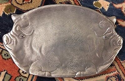 Vintage 1982 Arthur Court Double Pig Serving Dish W Red Eyes!