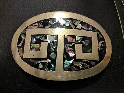 Vintage Silver Belt Buckle Western Mexico Abalone Shell Inlay