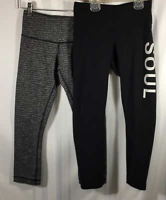 252e7e744c Lululemon Size 2 Lot Soulcycle Reversible, Dark Gray Wunder Under Crop Pants