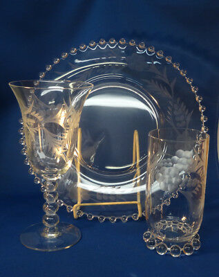 Imperial Candlewick 3 Pieces 1 Dinner Plate,1 Goblet and 1 Tumbler with Cutting