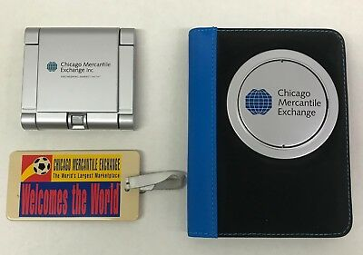 Lot of CME Chicago Mercantile Exchange Calculators Luggage Tag Notebook Rare